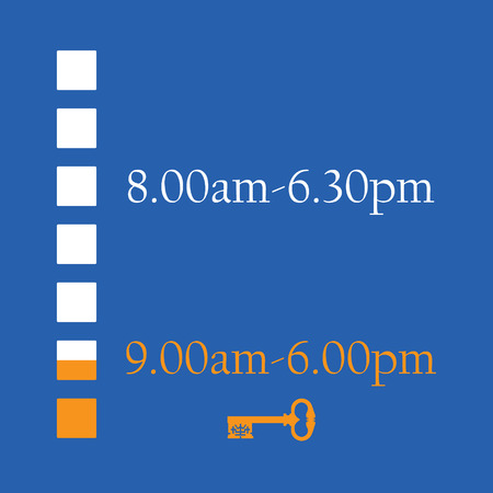 windows 8: Blue timetable with shop working hours from monday to sunday vector illustration. Opening hours. Old key symbolize closed