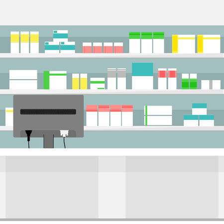 goteros: Vector illustration pharmacy shelves with medicine pills bottles liquids and capsules. Various Pills and Drugs For Sale Display on Pharmacy Shelves.