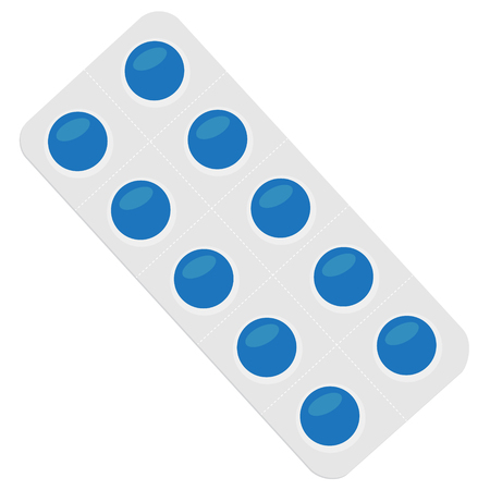 Vector illustration blue pills blister. Tablet strip icon. Round pills in a blister pack Çizim