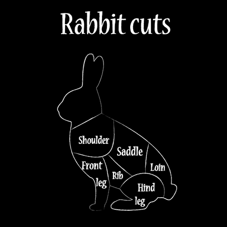 Illustration Of Rabbit Black Silhouette, Rabbit Cuts Chart, Diagram ...