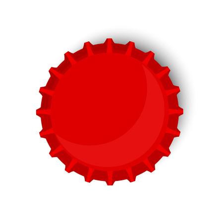 Vector illustration de bouchon de la bouteille rouge. Bière bouteille casquette de vue de dessus