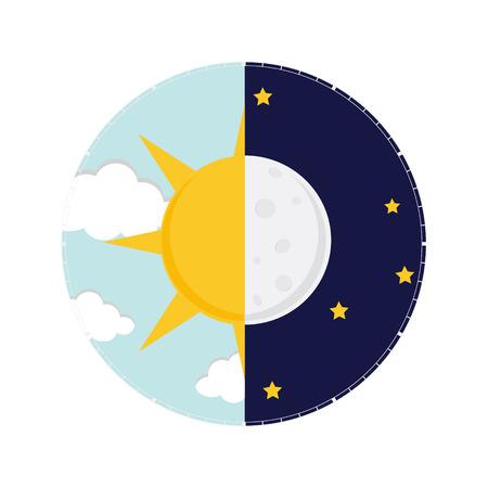 Vector illustration du jour et de la nuit. Jour concept de nuit, le soleil et la lune, icône de jour nuit