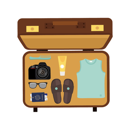 Vector illustration packed suitcase for summer holiday top view. Travel luggage. Traveler packing.