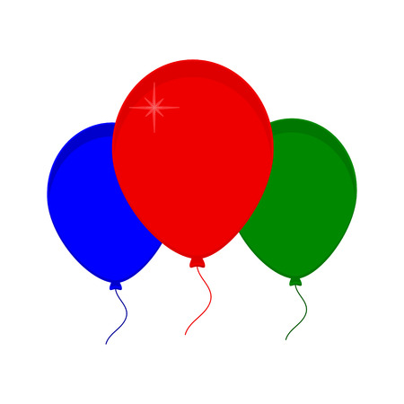 red balloons: Vector illustration bunch of green, red, and blue party balloons. Balloon icon. Festive balloons Illustration