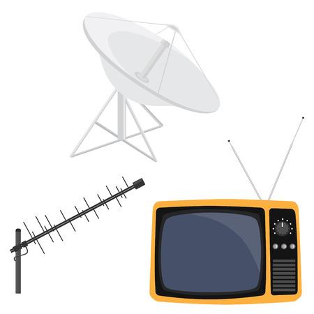 retro tv: Vector illustration satellite dish antenna, television antenna and retro tv. Antenna icon. Television antenna. TV antenna. TV icon set. Illustration