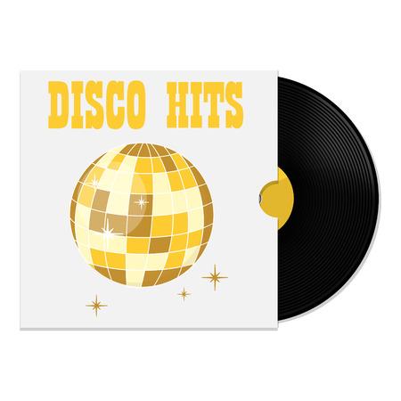 Ilustración del vector del disco de vinilo en la tapa con partido de la bola de discoteca golpes Ilustración de vector