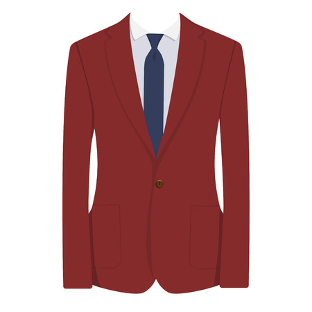 bordo: Vector illustration of red, bordo man suit with blue tie and white shirt isolated on white background. Business suit, business, mens suit, man in suit Illustration