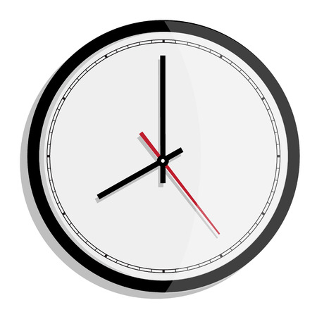 oclock: Vector simple classic black and white round wall clock isolated on white. Clock on wall shows eight oclock
