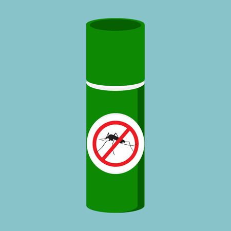 pest control equipment: Raster illustration mosquito spray bottle icon. Mosquito, insect stop sign