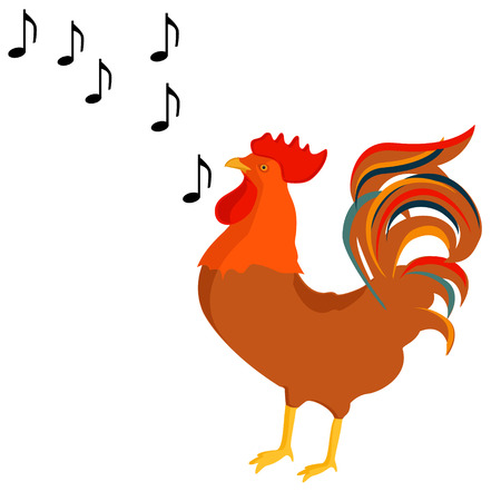 poultry: Raster illustration rooster crows, singing song.  Poultry farm animals