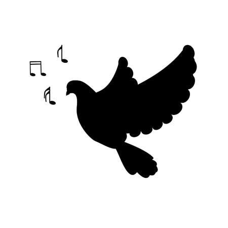 bird song: Raster illustration silhouette of bird dove signing song. Music notes