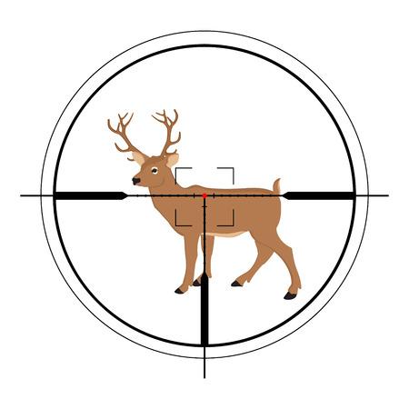scope: Raster illustration of a rifle crosshair aiming a deer. Deer target of hunting