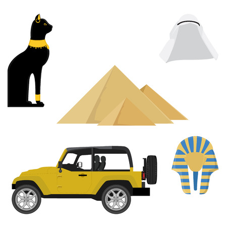 jeep: Egypt icons. Collection of ancient Egypt icons with Giza pyramid, jeep car, egypt cat, arab hat and golden mask of egypt pharaoh Stock Photo