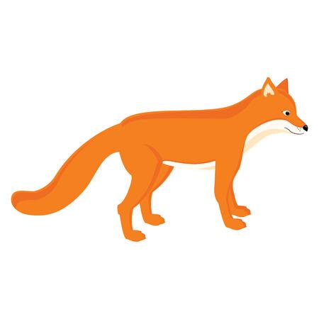 raster illustration: Raster illustration cute cartoon red fox isolated on white.