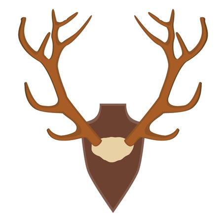 large skull: Raster illustration of deer, antler horns. Animal horn