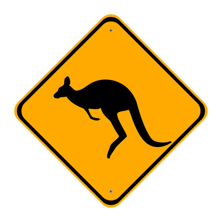 prudence: Raster illustration road sign caution kangaroo. Yellow sign