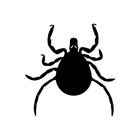 Raster illustration dangerous parasite mite black silhouette. Mite skin icon Stock Photo