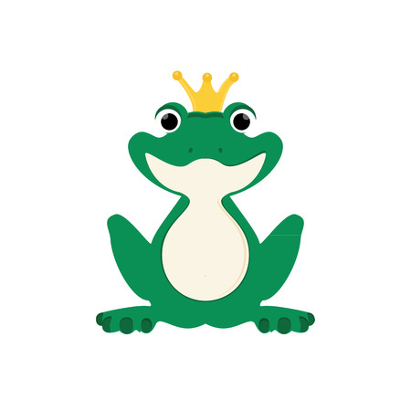green cute: Raster illustration green, cute frog with golden crown on head.