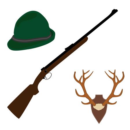 antler: Raster illustration of deer, antler horns. Animal horn. Green german hat  and rifle. Hunting weapon