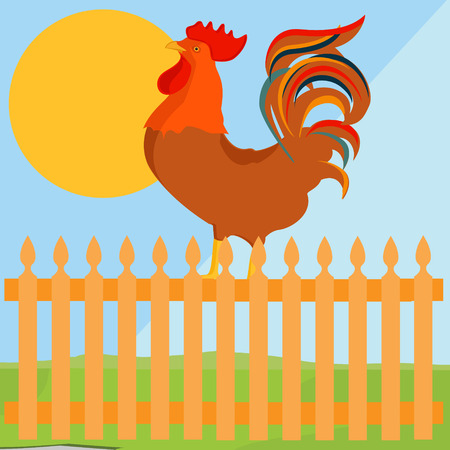morning  cock: Raster illustration early bird concept. Rooster, cock on fence in a countryside