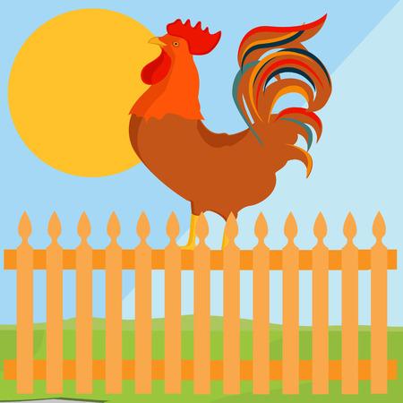 animal cock: Raster illustrazione concetto di early bird. Gallo, cazzo sulla rete fissa in una campagna Archivio Fotografico