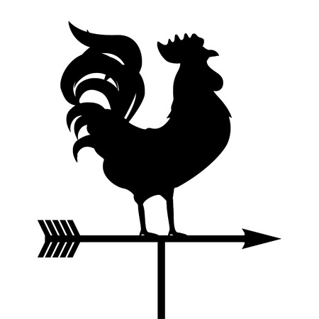 Raster illustration rooster weather vane. Black silhouette rooster, cock. Weather vane symbol, icon