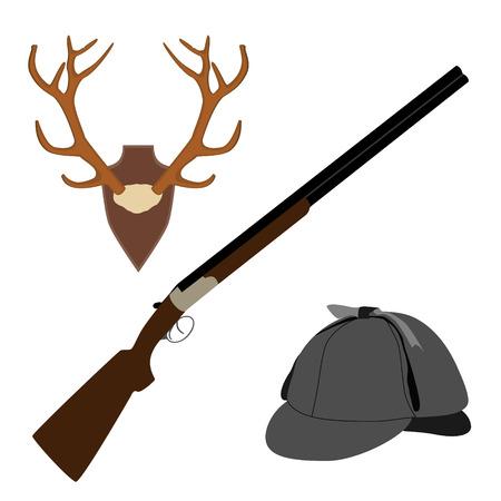 flintlock: Raster illustration of deer, antler horns. Animal horn. Deerstalker hat and rifle. Hunting weapon