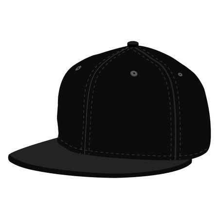 black rapper: Raster illustration black hip hop or rapper baseball cap. Baseball cap icon Stock Photo