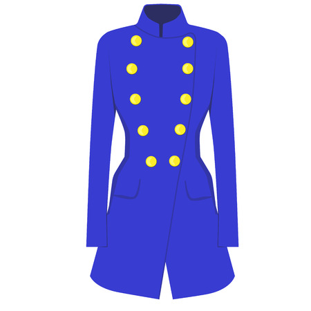trench coat: Raster illustration blue trench coat. Woman winter clothes Stock Photo