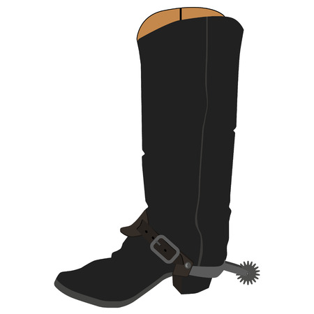 spur: Raster illustration old cowboy boots with spur. Cowboy shoe. Western traditional  footwear.