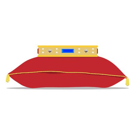 queen bed: Raster illustration golden crown on the red pillow. Royal crown on velvet pillow