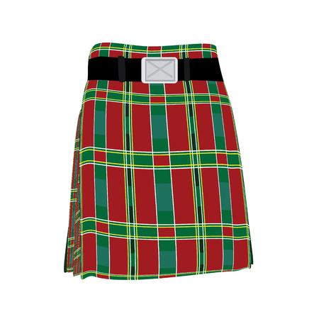 typically british: Raster illustration traditional man scottish dress kilt with belt. Scotland symbol. Scottish national costume