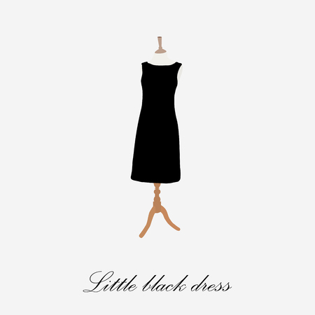 little black dress: Black dress on mannequin raster illustration. Cocktail dress. Woman black dress icon. Little black dress