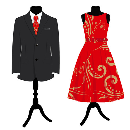 formalwear: Raster illustration collection man suit with red tie and woman elegant cocktail dress on mannequin. Formal dress