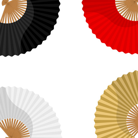 paper fan: Raster illustration japanese folding fan background, wallpaper, card with white, golden, black and red  hand fan