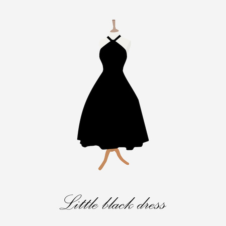 Black dress on mannequin raster illustration. Cocktail dress. Woman black dress icon. Little black dress