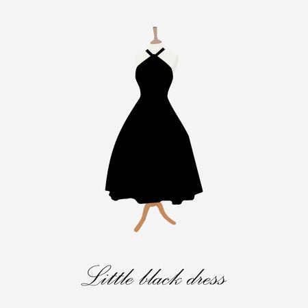 Vestido negro sobre ilustración de la trama maniquí. Vestido de coctail. Icono de mujer vestido negro. Vestido negro pequeño Foto de archivo
