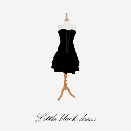 boutique display: Black dress on mannequin raster illustration. Cocktail dress. Woman black dress icon. Little black dress