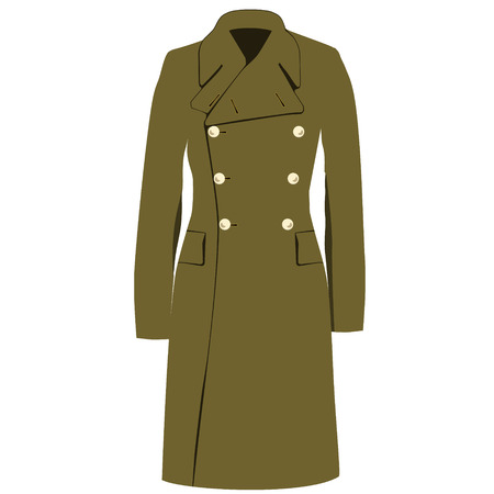 double breasted: Raster illustration green khaki military army winter, autumn coat or trench coat. Double breasted coat.