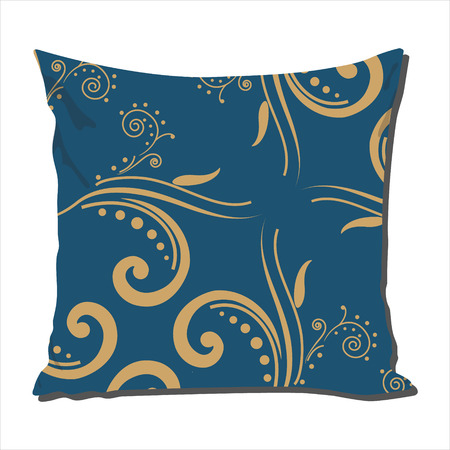 calico: Raster illustration design template cushion, pillow with blue vintage  pattern