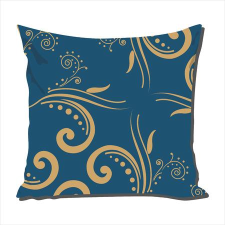 cotton velvet: Raster illustration design template cushion, pillow with blue vintage  pattern