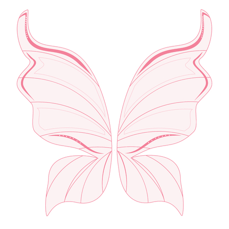 fairy wings: Raster illustration pink transparent fairy wings. Butterfly wings. Tooth fairy wings