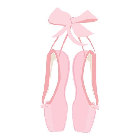 rundown: Raster illustration hanging pink ballet pointe. Pointes shoes.
