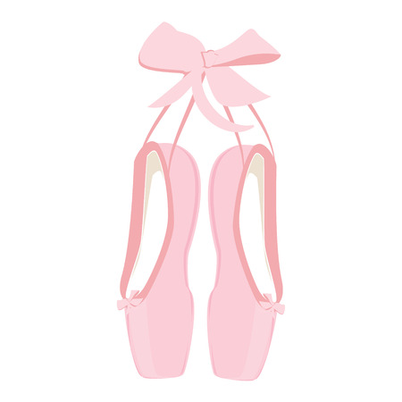 Raster illustration hanging pink ballet pointe. Pointes shoes.