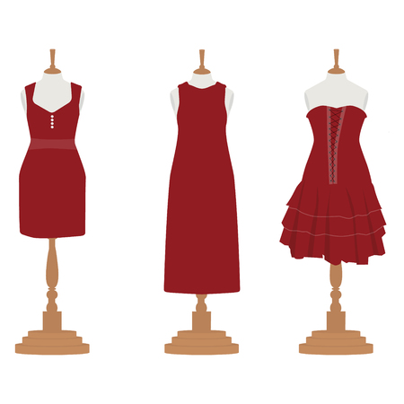 bordo: Raster illustration set of three red, bordo different design elegant cocktail and evening woman dresses on mannequin for boutique.