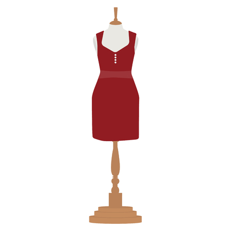 bordo: Raster illustration red, bordo elegant cocktail and evening woman dress  design on mannequin for boutique.