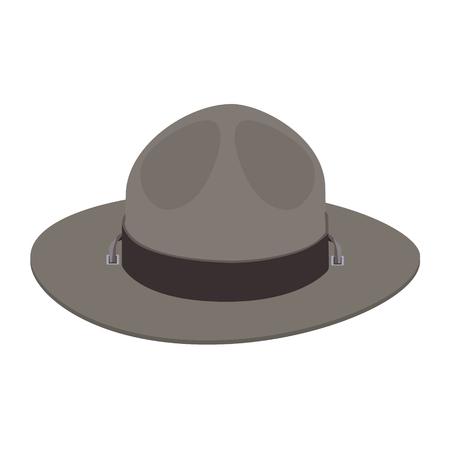 ranger: Raster illustration ranger uniform hat. Khaki green camp scout hat. Stock Photo
