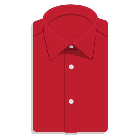 ironed: Man or businessman red folded shirt raster illustration. Shirt flat icon