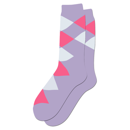 white fabric texture: Raster illustration pair of colorful socks. Socks for woman, man, kids. Sock icon