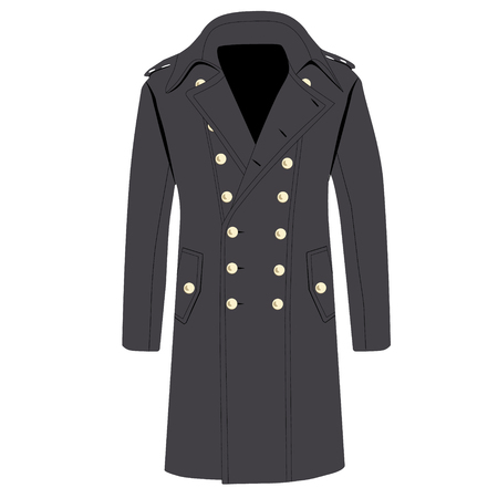 trench coat: Raster illustration man elegant grey trench coat,